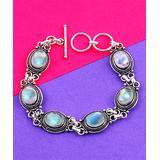 Gourik Women's Bracelets Silver/Blue - Rainbow Moonstone & Silver-Plated Oval-Link Station Bracelet