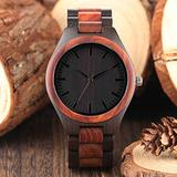 Casual Men's Wooden Watch, Black Minimalism Design Wooden Watch for Boy, Eco-Friendly Natural Wooden Watch