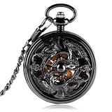Retro Pocket Watch for Men, Chinese Style Steampunk Pocket Watches for Men, Cranes Design Hand Wind Pocket Watch Chain for Teenagers