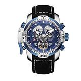 Reef Tiger RGA3503 Military Watches for Men Stainless Steel Blue Dial Watch Sport Autoamtic Watches