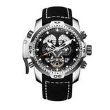 Reef Tiger RGA3503 Men Military Wrist Watch Stainless Steel Black Rubber Strap Multi-Functional Watches
