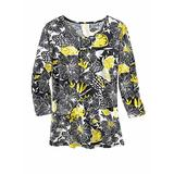 Haband Womens 3/4-Sleeve Print Artista Knit Top, Yellow Floral, Size 4XL, 4X