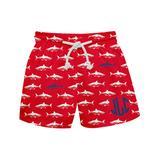 Monday's Child Boys' Board Shorts - Red & White Shark Monogram Swim Trunks - Infant, Toddler & Boys