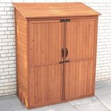 Leisure Season 5 ft. W x 2.5 ft. D Solid Wood Lean-To Storage Shed in Brown, Size 72.0 H x 59.0 W x 29.0 D in   Wayfair SPC5187