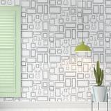 "Hashtag Home Nicola Frames 4' L x 24"" W Paintable Peel & Stick Wallpaper Roll Fabric in Black/Gray/White | Wayfair 1101758969CC4866A5ABD1616499D316"