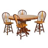Sunset Trading Oak Selections Dining Table Set, Medium Walnut with Light top, seat and Keyhole