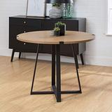 Walker Edison 4 Person Round Industrial Modern Wood Small -Dining -Table -Dining Room Kitchen -Table -Set -Dining Chairs Set English Oak Brown/Black40 Inch