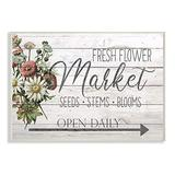 Stupell Industries Farmhouse Planked Look Fresh Flower Market Open Daily Wall Plaque, 13 x 19, Multi-Color