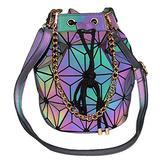 Geometric Holographic Purse and Handbag-2019 New Women Shoulder bags PU Leather Drawstring Bucket Bag Luminous Purse Handbags Shard Lattice Crossbody Messenger Bag Holographic Purse