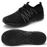Aqua Water Shoes for Womens Summer Barefoot Shoes Quick Drying Aqua Swim Skin Shoes for Water Sports Beach Swim Yoga Exercise All Black 37 EU