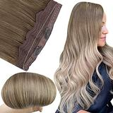 Fshine Wire Hair Extensions Human Hair Balayage Clip in Hair Extensions Ash Brown to Platinum and Blonde 14Inch Hidden Hair Crown Headband Hair Extensions for Women 70Gram Removable Hair Extensions