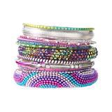 Pavcus Designs Women's Bracelets - Pink & Purple Crystal Bangle Set