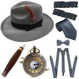 1920s Trilby Manhattan Fedora Hat, Plastic Cigar/Gangster Armbands/Vintage Pocket Watch, Grey