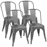 Furmax Metal Dining Chair Indoor-Outdoor Use Stackable Classic Trattoria Chair Chic Dining Bistro Cafe Side Metal Chairs Set of 4 (Gray)