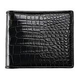 CHERRY CHICK Men's Handmade Crocodile Skin Wallet Genuine Alligator Wallets Birthday Present (Black-Belly-Horizontal)