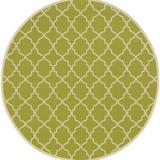 Andover Mills™ Alford Geometric Green/Ivory Indoor/Outdoor Area Rug Polypropylene in Brown/White, Size 94.0 H x 94.0 W x 0.16 D in | Wayfair
