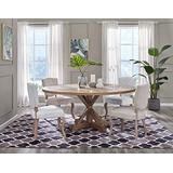 """Modway Stitch 71"""" Rustic Farmhouse Wood Round Kitchen and Dining Room Table, Brown"""