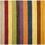 Ebern Designs Hossain Striped Handmade Flatweave Wool Yellow/Multi Area Rug Wool in Brown/Yellow, Size 0.63 D in   Wayfair
