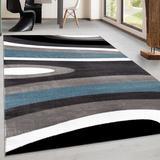 Winston Porter Alazhia Abstract Blue Area Rug Polypropylene in Blue/Brown, Size 94.0 W x 0.49 D in | Wayfair CF43871371254BDBA9F89C1D9275FA93