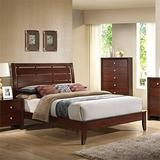BOWERY HILL Contemporary Wooden Queen Sleigh Bed in Brown Cherry