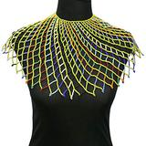 African Necklace,Beads Shawl Zulu Necklace & Boho - Wedding Fine Jewelry Ethnic Style Hand-Woven Exaggerated Personality Necklace (C)