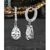 Lesa Michele Women's Earrings Silver - Cubic Zirconia & Sterling Silver Dangle Teardrop Earrings