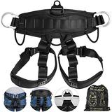 Happybuy Climbing Harness Fall Protection Rock Climbing Equip Gear Rappelling Harness with 3 D-Rings for Rock Climbing Rappelling Downhill Skiing