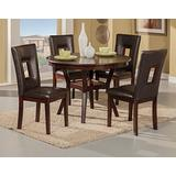 Benjara Benzara Five Piece Rubberwood Dining Set with Table and Four Chairs, Brown,