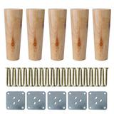 """uxcell 5"""" Round Solid Wood Furniture Legs Sofa Bed Couch Chair Bed Desk Closet Cabinet Feet Replacement Set of 5 Wood Color"""