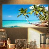 East Urban Home Seascape Tropical Beach - Photograph Print Canvas & Fabric/Plastic/Metal in Blue/Brown, Size 32.0 H x 42.0 W in | Wayfair
