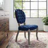 Ophelia & Co. Jeff Tufted Upholstered King Louis Back Side Chair Upholstered/Velvet in Blue, Size 38.0 H x 26.0 W x 21.0 D in | Wayfair