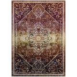 Bungalow Rose Mcnulty Transitional Distressed Vintage Floral Persian Medallion Red Area Rug Polypropylene in White, Size 71.0 H x 47.0 W x 0.5 D in