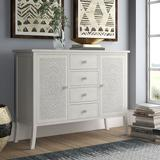 Bungalow Rose Dundressan Antiqued Carved 2 Door Accent Cabinet Wood in Brown/Green/White, Size 33.0 H x 43.25 W x 14.5 D in   Wayfair