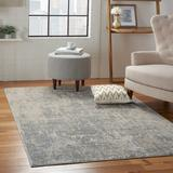 Mercury Row® Frances Abstract Ivory/Silver Gray Area Rug Polyester/Polypropylene in Brown/Gray/White, Size 94.0 H x 63.0 W x 0.5 D in   Wayfair