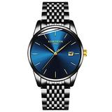 Mens Watch Deep Blue/Black Ultra Thin Wrist Watches for Men Fashion Quartz Watch Blue Face