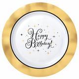 Amscan Premium Birthday Plastic Disposable Dinner Plate Plastic in White/Yellow | Wayfair 430631