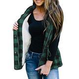 FISACE Women Plaid Corduroy Flannel Fleece Hooded Sleeveless Anoraks Lightweight Military Drawstring Jacket Vest (Large, Green)
