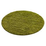 """Well Woven Madison Modern Solid Plain Green Shag Thick Area Rug 3'11"""" Round"""