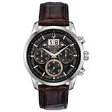 Bulova Classic Chronograph Mens Watch, Stainless Steel with Brown Leather Strap, Silver-Tone (Model: 96B311)