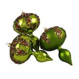 """Barcana 3ct Lime Green Glitter Sequin Beaded Shatterproof Christmas Finial Ornaments 5"""""""