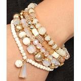Riah Fashion Women's Bracelets Natural - Goldtone & Natural Charm-Accent Beaded Stretch Bracelet Set