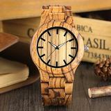 Eco-Friendly Men's Wooden Watch, No Time Scale Big Dial Fashion Wooden Watches for Boy, Comfortable Brown Leather Strap Wooden Watch