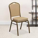 EMMA + OLIVER Crown Back Banquet Chair, Beige Patterned Fabric/Gold Frame