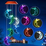 SIX FOXES Moon Wind Chime Outdoor,Solar Color Changing LED Light Lamp Decoration Solar Wind Chimes for Home Party Night Garden