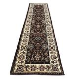 Traditional Persian Floral Runner Rug 330,000 Point Brown & Burgundy Design 601 (2 Feet X 7 Feet 2 Inch)