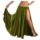 "Indian Trendy 36"" Long Women's Satin 2 Slit Full Skirt Belly Dance Gypsy Tribal 9 Yard Panel Jupe Flamenco Boho Rock (One Size, Olive Green)"