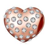 Sparkling Rose Gold Love Charm Australian Crystals Charm 925 Sterling Silver Bead for European Compatible Brand Bracelet