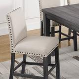 """Gracie Oaks Bloomsdale 26"""" Counter Stool Wood/Upholstered in Brown/Gray, Size 41.0 H x 19.0 W x 23.0 D in 