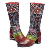 gracosy Knee High Riding Boots Womens Leather Over The Knee Boot Winter Warm Flat Combat Boots Zipper Red 6