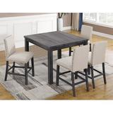 Gracie Oaks Ralston 5 Piece Counter Height Dining SetWood/Upholstered Chairs in Brown/Gray, Size 36.0 H x 48.0 D in   Wayfair
